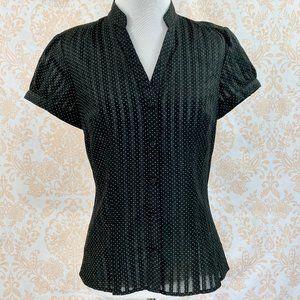 NWOT Ann Taylor black dot/sheer stripe button up 0